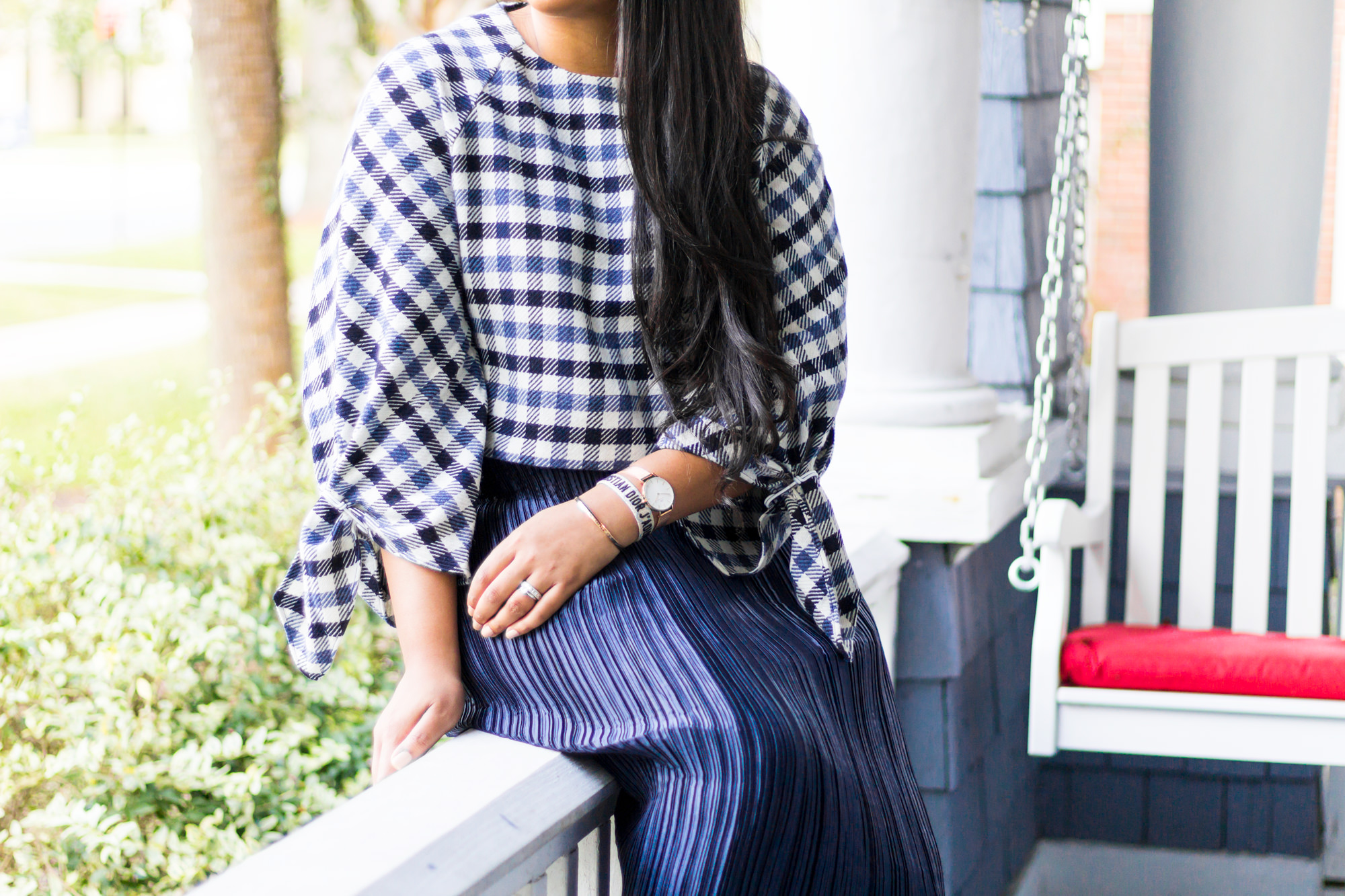 tibi-fairfax-tie-sleeve-gingham-top