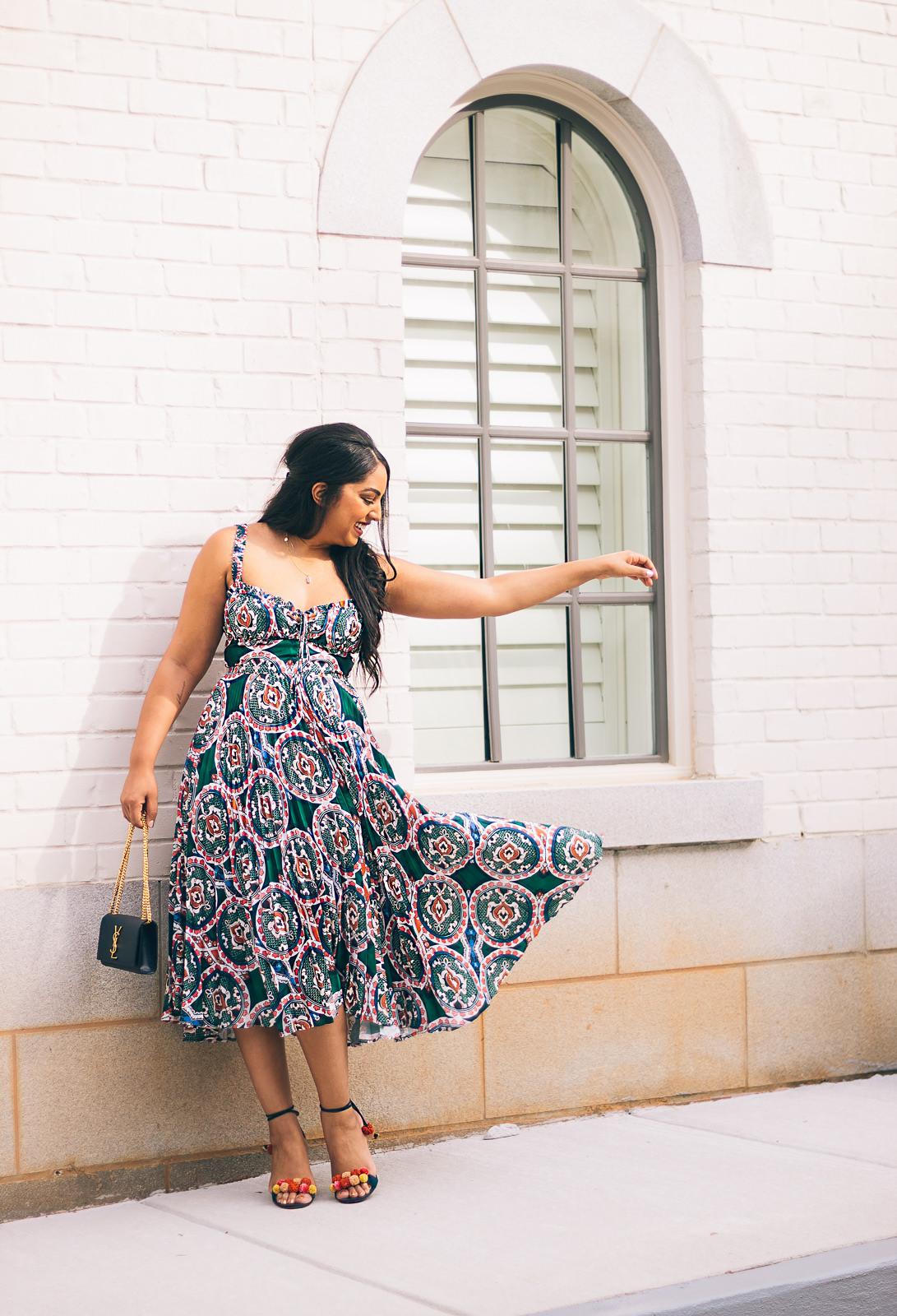 Amora Pleated Dress in Green Multi
